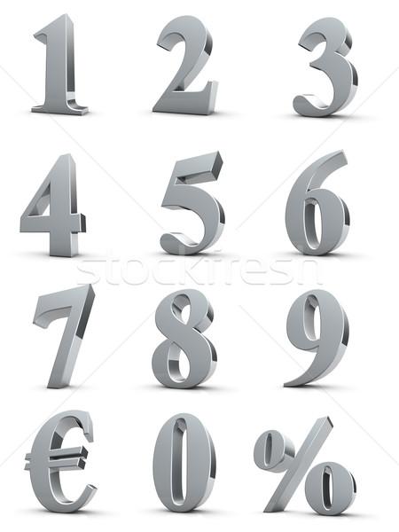 Srebrny numery euro procent symbol uroczystości Zdjęcia stock © froxx