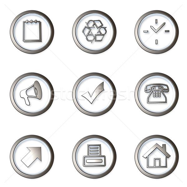 Ikon szett kilenc különböző 3D webes ikonok telefon Stock fotó © froxx