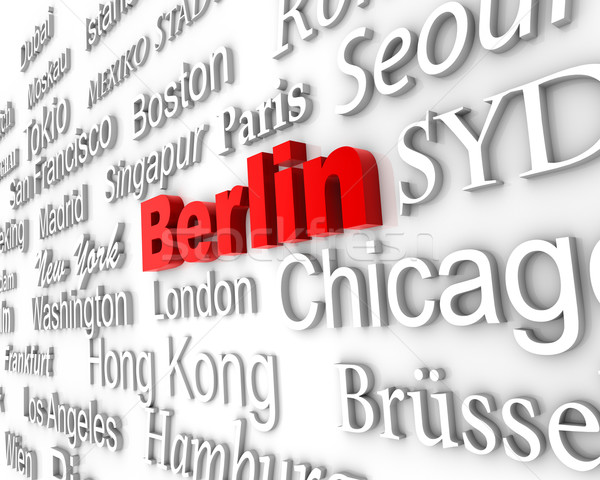 Metropolia Berlin demonstracja duży miasta 3D Zdjęcia stock © froxx