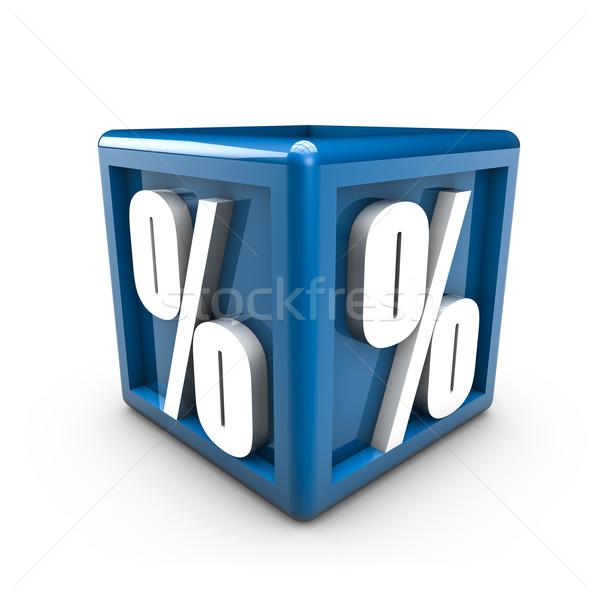 Százalék renderelt kép szimbólumok kék kocka felirat Stock fotó © froxx