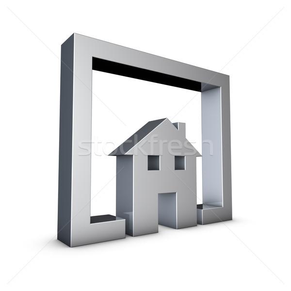 Otthon renderelt kép ikon fehér számítógép ház Stock fotó © froxx