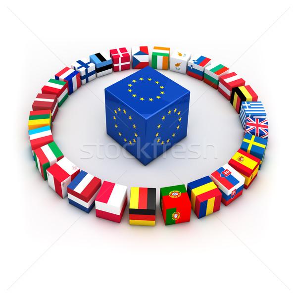 Stockfoto: Europese · unie · abstract · demonstratie · Griekenland · lid