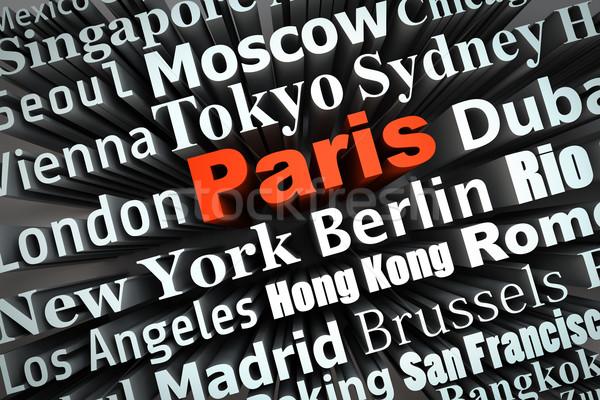 Metropolia Paryż demonstracja duży miasta 3D Zdjęcia stock © froxx