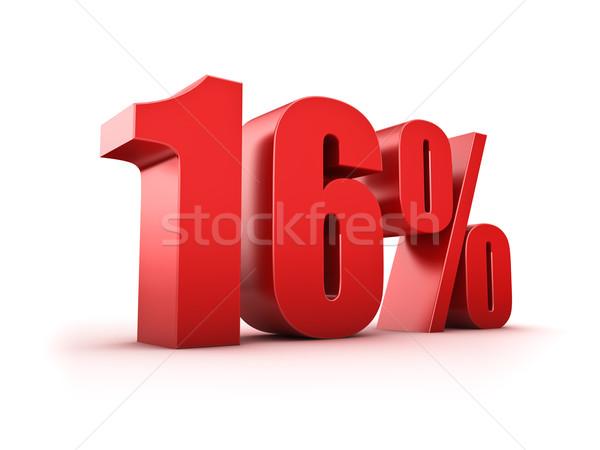 16 százalék 3D renderelt kép tizenhat szimbólum Stock fotó © froxx