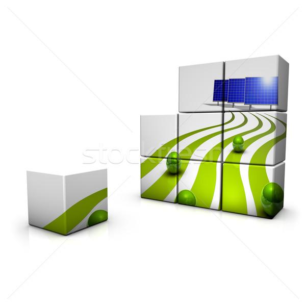 Zonne-energie abstract demonstratie 3D natuur technologie Stockfoto © froxx