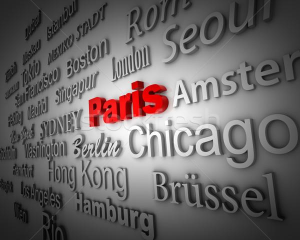 Metropoli Parigi dimostrazione grande città 3D Foto d'archivio © froxx