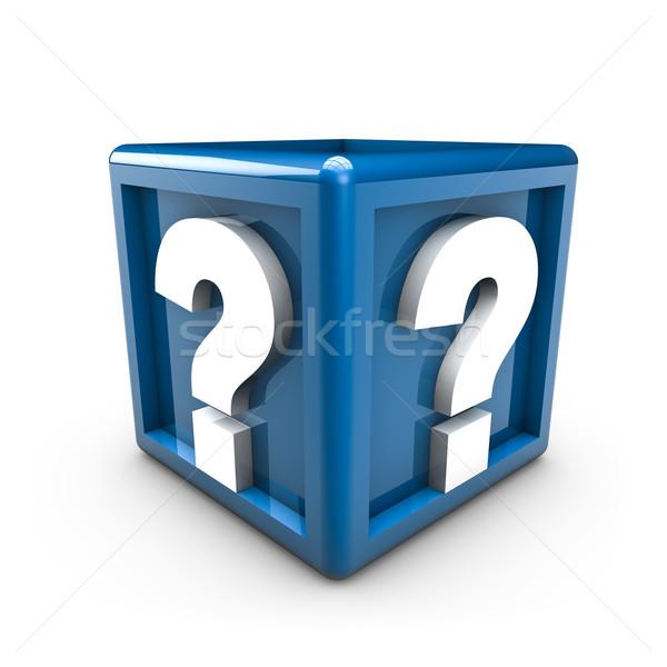 Soru işareti iki mavi küp soyut Stok fotoğraf © froxx