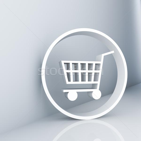 Bevásárlókocsi renderelt kép fehér szimbólum internet vásárlás Stock fotó © froxx
