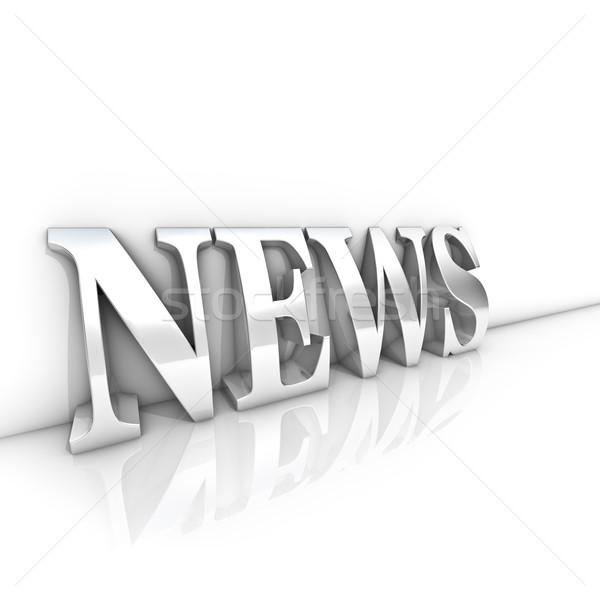 Hírek szöveg renderelt kép ezüst fehér szoba Stock fotó © froxx