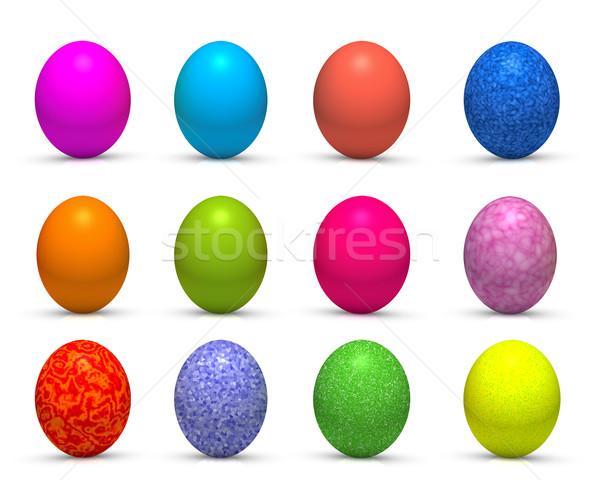 Easter eggs dodici isolato uovo rosso regalo Foto d'archivio © froxx