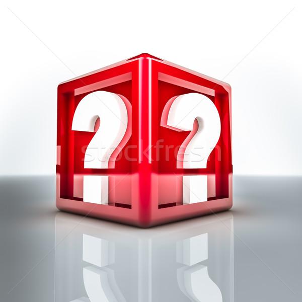Punto di domanda due rosso cubo abstract Foto d'archivio © froxx