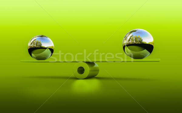Egyensúly 3D renderelt kép kettő gömbök jóga Stock fotó © froxx