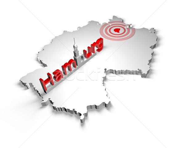 Conducción hamburgo mapa ciudad rojo texto Foto stock © froxx