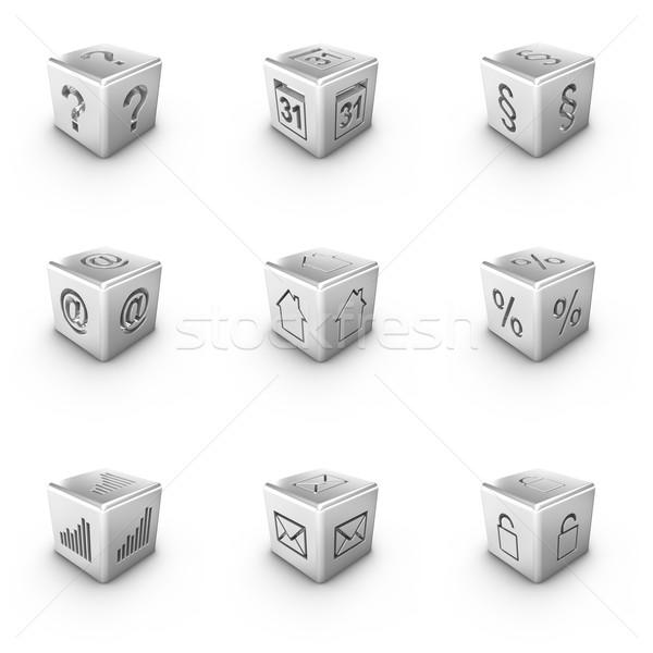 Nove diverso 3D argento icone web Foto d'archivio © froxx