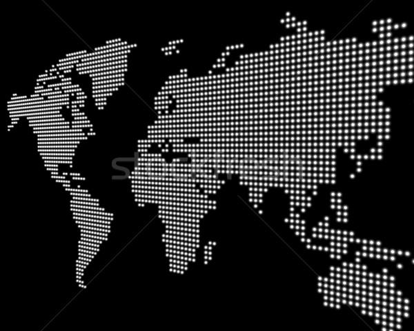 Világtérkép fehér pontok fekete térkép világ Stock fotó © froxx