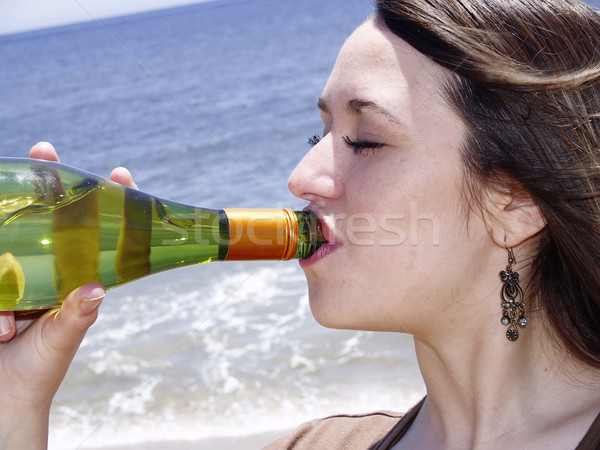 Close-up of a girl drinking Stock photo © fxegs