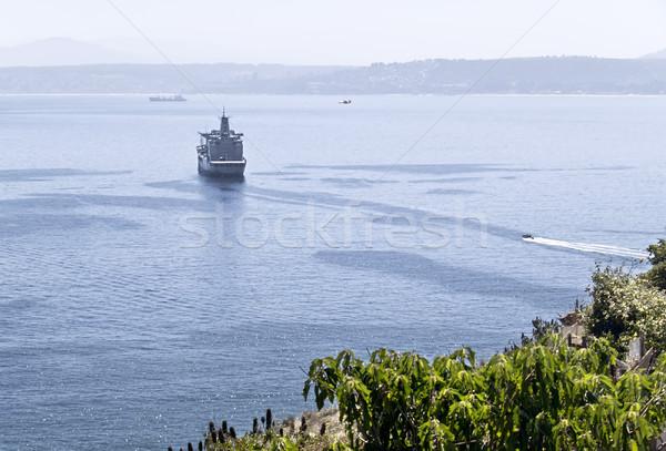 Gemi uzak su deniz okyanus mavi Stok fotoğraf © fxegs