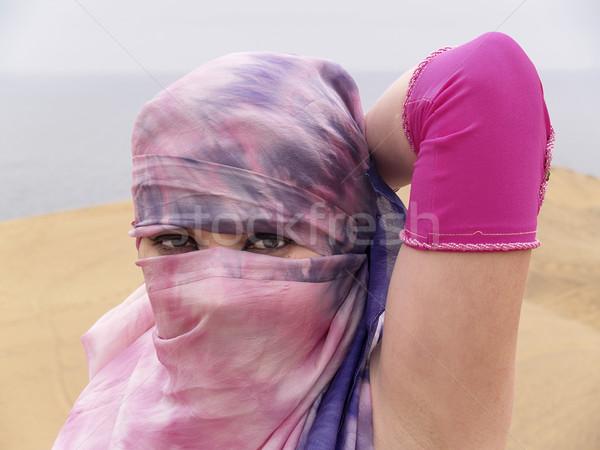 арабских танцовщицы глазах вуаль женщину пустыне Сток-фото © fxegs