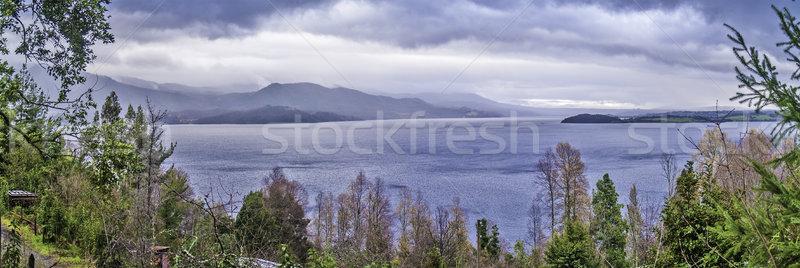 озеро гор Панорама мнение деревья пейзаж Сток-фото © fxegs