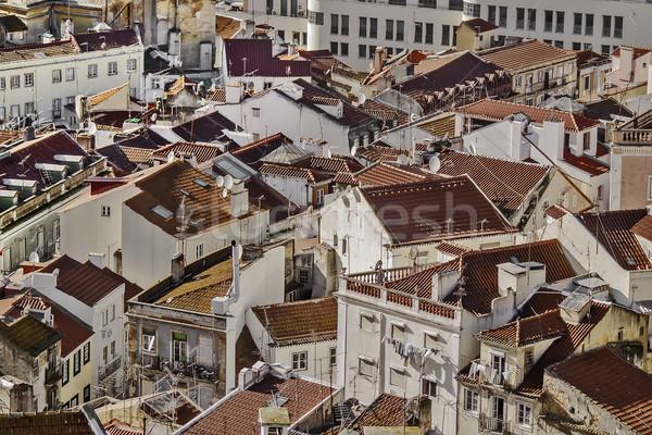 красный домах Лиссабон 2012 район Сток-фото © fxegs
