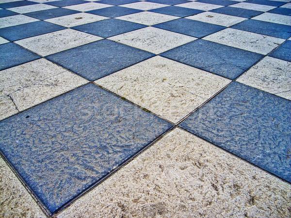 Satranç tahtası zemin stil beyaz mavi satranç Stok fotoğraf © fxegs