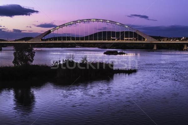 Lusitania bridge at dusk in Merida Stock photo © fxegs