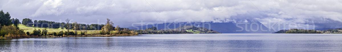 озеро Панорама пейзаж гор зима красоту Сток-фото © fxegs