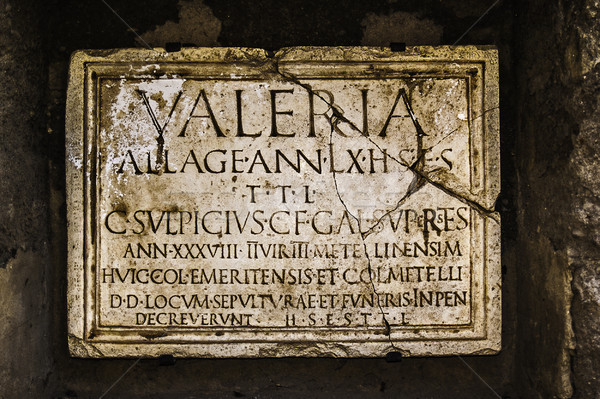 Ancient Roman tombstone plate Stock photo © fxegs