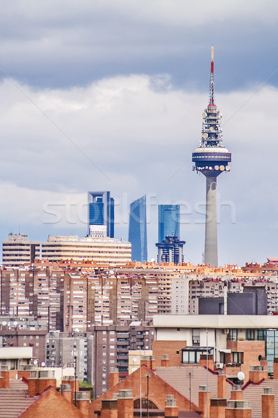 Telecommunicatie toren Madrid augustus 2012 skyline Stockfoto © fxegs