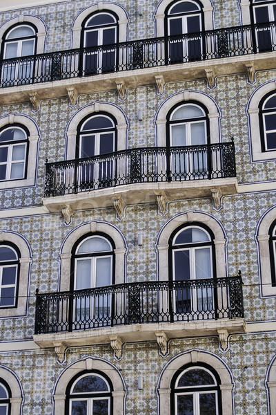 Glazed tile facade and balconies Stock photo © fxegs