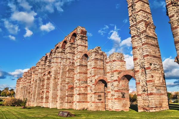 Roman aqueduct in Merida side Stock photo © fxegs