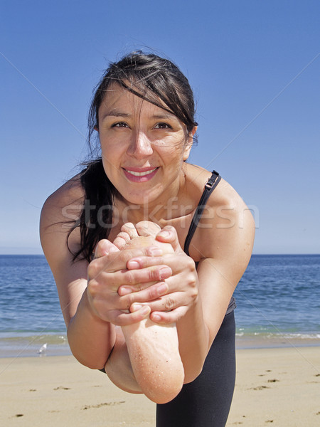 Bikram yoga dandayamana janushirasana frontal pose Stock photo © fxegs