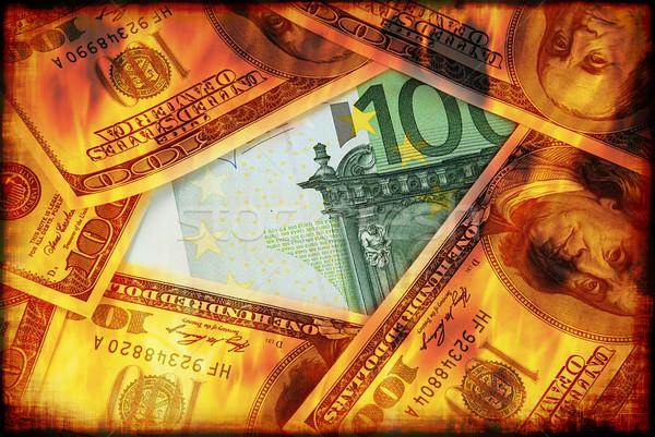 ドル 燃焼 ユーロ ビジネス ストックフォト © fyletto