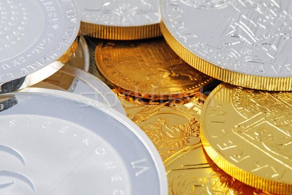 Skarb szczegół srebrny złoty monet Zdjęcia stock © fyletto