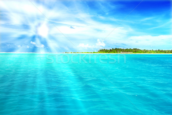 Tropicali paradiso Maldive bianco spiaggia completo Foto d'archivio © fyletto