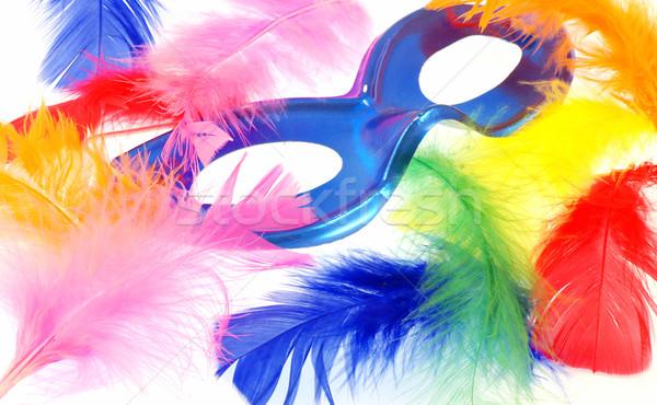 Pióro karnawałowe niebieski maska piękna kolorowy Zdjęcia stock © fyletto