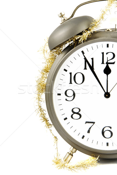 Nouvelle année horloge réveil or chaîne hiver Photo stock © fyletto
