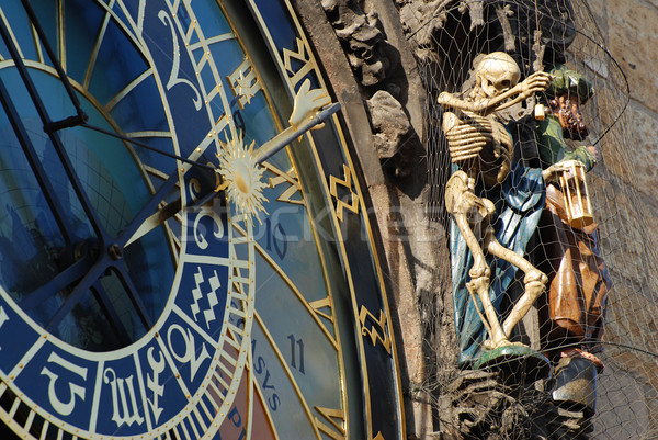 Astronomico clock dettaglio scheletro Praga Repubblica Ceca Foto d'archivio © fyletto