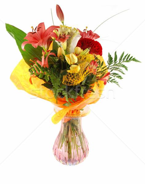 Boeket mooie vers bloemen vaas voorjaar Stockfoto © fyletto
