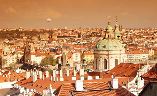 Прага закат Церкви святой осмотр достопримечательностей небе Сток-фото © fyletto
