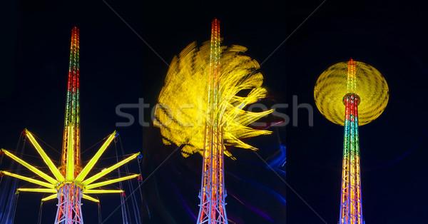 Fesztivál őrült attrakció izgalmas éjszaka három Stock fotó © fyletto