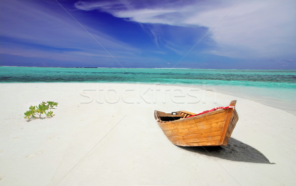 Boat on the empty beach Stock photo © fyletto
