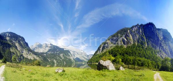 アルプス山脈 湖 高山 緑 草原 パノラマ ストックフォト © fyletto