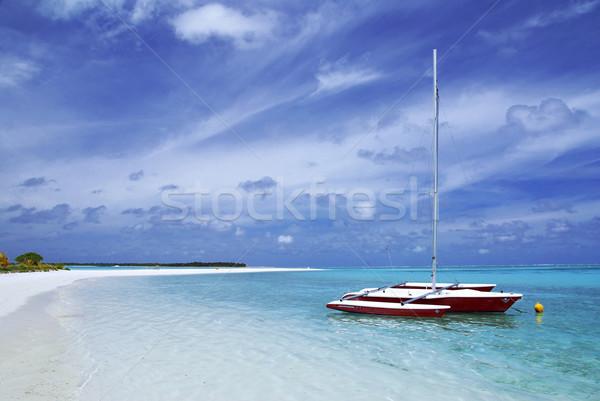 Stockfoto: Boot · strand · klein · mooie · exotisch · landschap