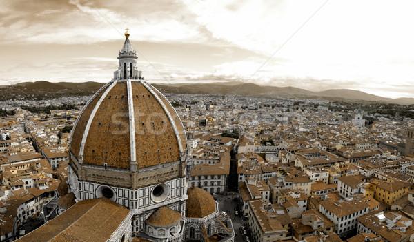 Mikulás Florence gyönyörű katedrális Olaszország szépia Stock fotó © fyletto