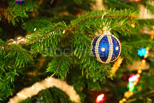 Рождества украшение дерево красивой синий подвесной Сток-фото © fyletto