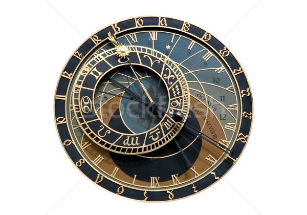 Astronómico reloj Praga aislado tiempo placa Foto stock © fyletto