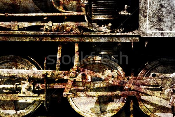 Grunge tren detalle edad Rusty locomotora Foto stock © fyletto