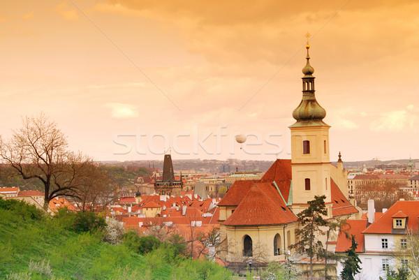 Prague coucher du soleil église dame tourisme printemps Photo stock © fyletto