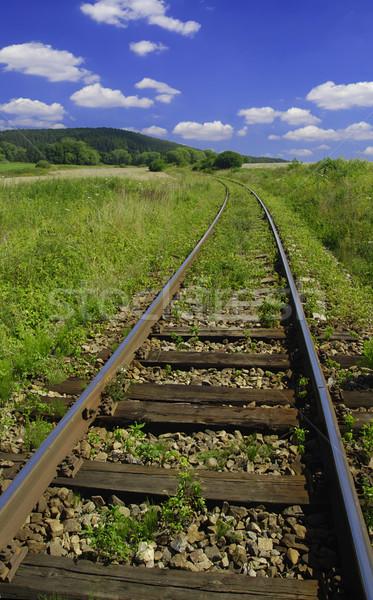 железная дорога старые стране Blue Sky облака дерево Сток-фото © fyletto